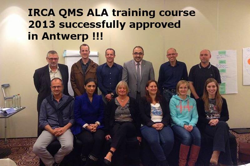 IRCA QMS ALA training course 2013 in Antwerp